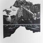 Glärnisch - aus dem Urmeer geboren, Aquatinta, 2 schwarz, Auflage 10 Ex./ 1989