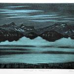 Mondnacht am Milchspüelersee, Mezzotinto. Schwarz-blau, Auflage 10 Ex. / 1990