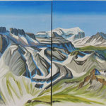 Sommer-Panorama Freiberg (v.Charenstock)  Acryl auf LW / 80x240 cm / 2011 /  Privatbesitz