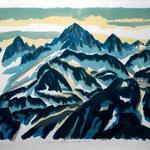 Berner Alpen im Abendlicht, Litho vom Stein, Auflage 8 Rx./ 2001
