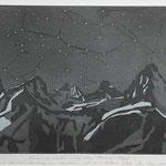 Vorwinternacht im Freiberg Kärpf, Aquatinta, schwarz-blau, Auflage 20 Ex./ 1994