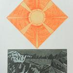 Tag & Nacht (Tschingelhoren) 1 Aquatinta-Rad.1 Kupferstich, Auflage 10 Ex. / 1996