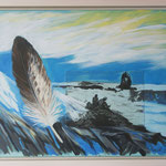 Adlerflug Tödi / Acryl & Radierung auf LW / 45x55 cm / 2012