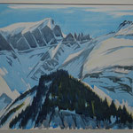 Piz Segnes - Mörderhorn im Winter - Aquarell 42x52 cm - 2015