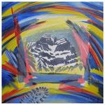Kraftberge II (Glärnisch) Acryl & Lithofragment auf LW / 60x60 cm / 2008
