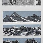 Berner Alpen III / 4 Holzstiche schwarz-graublau, Auflage 15 Ex. / 1998