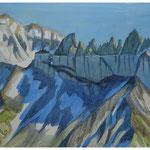 Piz Segnes - Tschingelhoren - Aquarell 42x52 cm - 2015