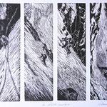 Im Röticouloir am Tödi II / 4 Holzstiche schwarz, Auflage 15 Ex. / 1997