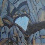Martinsloch-später Vormittag-Acryl auf BW-100x115 cm-1992-2012