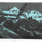 Adlerflug A-1, Fotoradierung, schwarz-blau, Auflage 8 Ex./ 1995