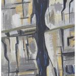 Schwarzes-Couloir (Jägerstöcke) Acryl auf Karton auf Pavatex / 150x95 cm / 1990