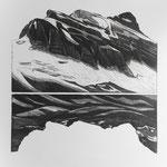 Glärnisch/Bächistock-im Urmeer geb., Aquatinta, 2 schwarz, Auflage 10 Ex./ 1988