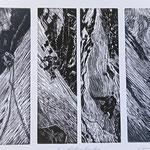 Im Röticouloir am Tödi I / 4 Holzstiche schwarz, Auflage 10 Ex. / 1997