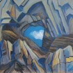 Martinsloch-früher Nachmittag-Acryl auf BW-100x115 cm-1992-2012
