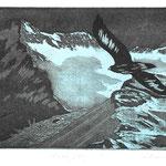 Adlerflug A-2, Fotoradierung, schwarz-blau, Auflage 8 Ex./ 1995