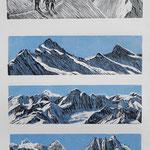 Berner Alpen II / 4 Holzstiche schwarz-hellblau, Auflage 8 Ex. / 1998