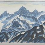Berner Alpen v. Furkapass / Aquarell / 2009