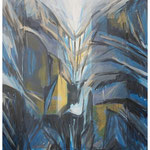 Mondlicht im Wandcouloir (Clariden) Acryl & Lithofrag.auf LW / 80x60 cm / 2009