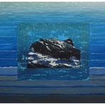 Glärnisch-Bächistock-im Urmeer geboren / Acryl & Druckgrafik auf LW / 80x120 cm / 2014