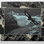 Bergflug / Fotoradierung schwarz-beige/ 3 EA. Ex. / 1996