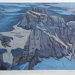Blauer Glärnisch, Aquatinta blau-schwarz, 2 EA. Ex./ 1987