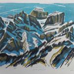 Winter Glärnisch, Litho vom Stein, Auflage 8 Ex./ 2006