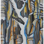 Winter-Couloir (Jägerstöcke) Acryl auf Karton auf Pavatex / 150X95 cm / 1990