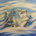 Winterlicht am Glärnisch / Acryl & Lithofragment auf LW / 80x100 cm / 2010
