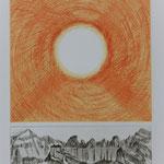 Sonne ü.d.Tschingelhoren, Kupferstich orange-schwarz, Auflage 10 Ex. / 1996