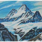 Schreckhorn v. Schreckfeld / Acryl auf LW / 80x100 cm / 2009 / im Privatbesitz