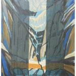 Sonnenlicht i.d. Eiswand (Tödi) Acryl & Lithofragment auf LW / 80x60 cm / 2009