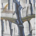 Herbst-Couloir (Jägerstöcke) Acryl auf Karton auf Pavatex / 150x95 cm / 1990