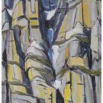 Frühlings-Couloir (Jägerstöcke) Acryl auf Karton auf Pavatex /  150x95 cm / 1990