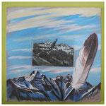 Adlerflug Freiberg A I / Acryl & Radierung auf BW / 50x50 cm / 2011