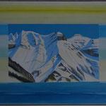 Winterlicht Ofen - Piz Grisch - Acryl & Spachtel auf LW 70x100 cm - 2014
