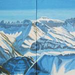 Winter-Panorama Freiberg Kärpf (v.Bergligrat) Acryl auf LW / 80x240 cm / 2011 / Privatbesitz