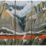 Tödi-Röticouloir (Trilogie) Acryl auf LW / 3 LW à 180x60 cm / 1997