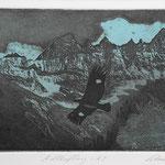 Adlerflug A-3, Fotoradierung, schwarz-blau, Auflage 8 Ex./ 1995