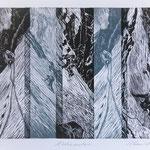 Tat und Traum (Tödi) II / 4 Holzstiche schwarz-dunkelblau, Auflage 8 Ex. / 1997