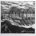 Tschingelhoren (bei Elm) Aquatinta, schwarz, Auflage 10 Ex./ 1988