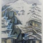 Clariden-Nordwand (v.Klausenpass) Aquarell / 1996 /  Privatbesitz