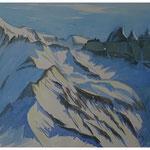Piz Segnes - Tschingelhoren im Winter - Aquarell  42x63 cm - 2014