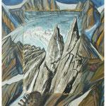 Erinnerung Urner Granit II (Gr.Schijen) Acryl & Litho auf LW / 60x60 cm / 2008 /  Privatbesitz
