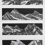 Berner Alpen I / 4 Holzstiche schwarz, Auflage 20 Ex. / 1998