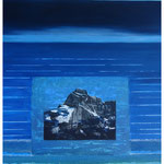 Glärnisch-Höchtor-im Urmeer geboren / Acryl & Druckgrafik auf LW / 120x100 cm / 2014
