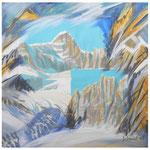 Erinnerung Urner Granit (Gr.Büelenhorn) Acryl & Litho auf LW / 60x60 cm / 2008/ Privatbesitz