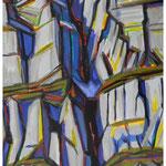 Sommer-Couloir (Jägerstöcke) Acryl auf Karton auf Pavatex / 150x95 cm / 1990