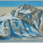 Nacheiszeit Piz Palü-Piz Bernina (m.Würm-Eiszeit-Karte) Acryl LW/ 60x120 cm /  2011