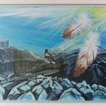 Falkenflug Freiberg / Acryl & Radierung auf LW / 45x55 cm / 2012