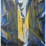 Herbstlicht i.d.Felswand (Vorab-West) Acryl & Lithofrag.auf LW / 80x60 cm / 2009